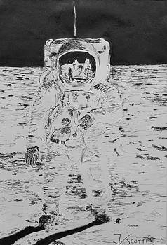 Buzz Aldrin on the Moon by James Scotti