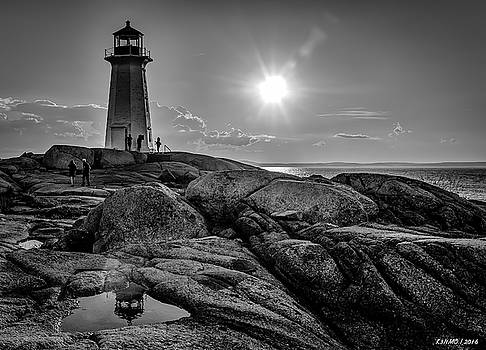 BW of Iconic Lighthouse at Peggys Cove  by Ken Morris