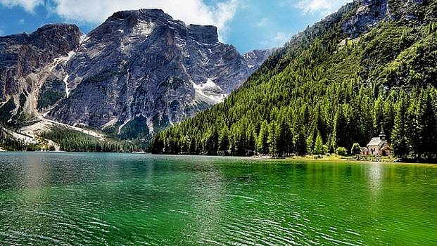 By Elvin Siew Chun Wai - Green Mountains Lake Italy Nature Landscape  by Elvin Siew Chun Wai