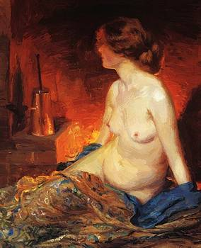 By The Fireside 1910 by Guy Rose