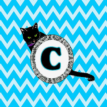 C Cat Chevron Monogram by Paintings by Gretzky