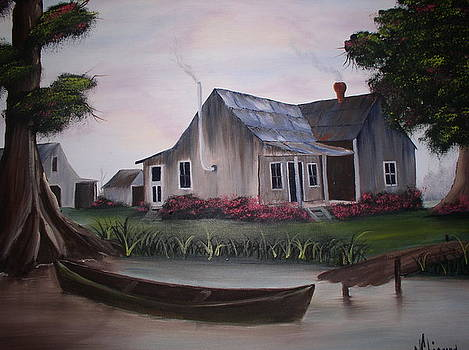 Cabin And Pirogue by Monica Chiasson