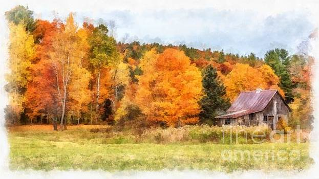 Cabin in the Woods Autumn by Edward Fielding