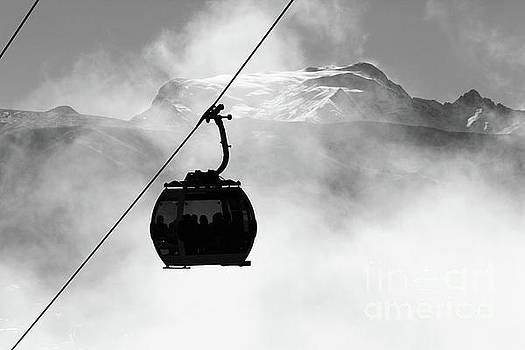 Cable Car Cabin and Mt Mururata in Monochrome Bolivia by James Brunker
