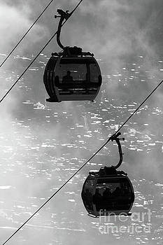 Cable Car Cabins Above La Paz in Monochrome Bolivia by James Brunker
