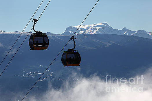 Cable Car Cabins and Mt Mururata Bolivia by James Brunker