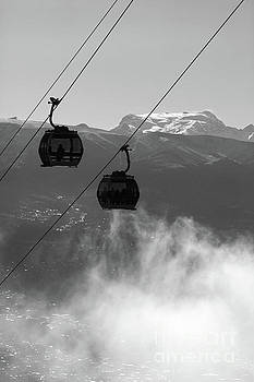 Cable Car Cabins and Mt Mururata in Black and White Bolivia by James Brunker