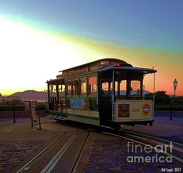 Cable car sunset by Val Lupiz