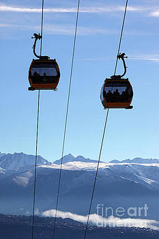 Cable Cars and Andes Mountains after Winter Snowfall Bolivia by James Brunker