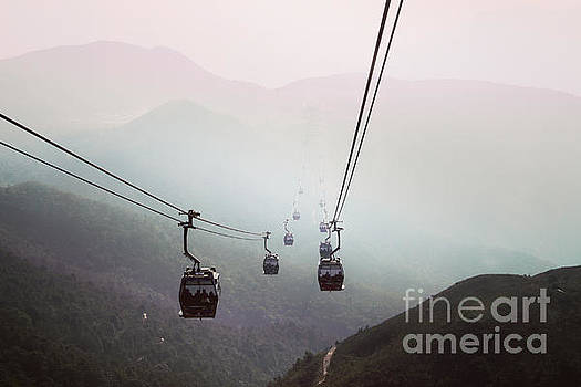 Cableway over the hills in Hong Kong by Remioni Art