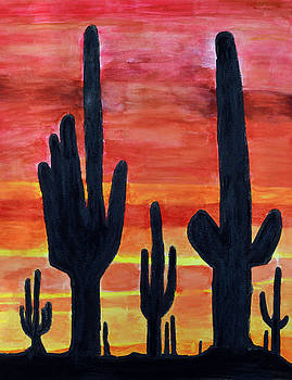 Cactus Sunset by Lisa Von Biela