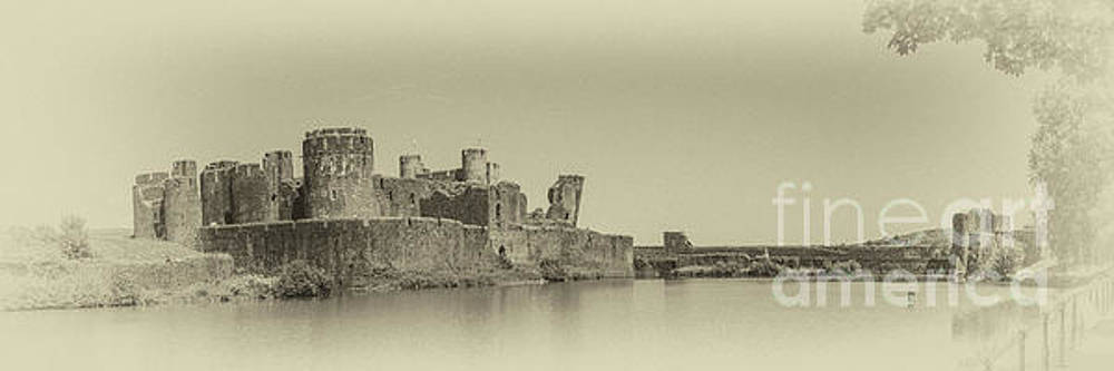 Caerphilly Castle Panorama Antique by Steve Purnell