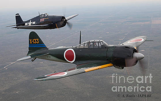 CAF F6F Hellcat and A6M Zero formation by Antoine Roels