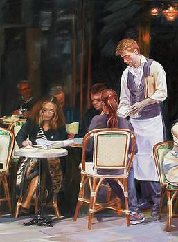 Cafe Scene In Paris by Dominique Amendola