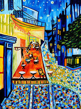 Cafe Terrace at Night by Art by Danielle