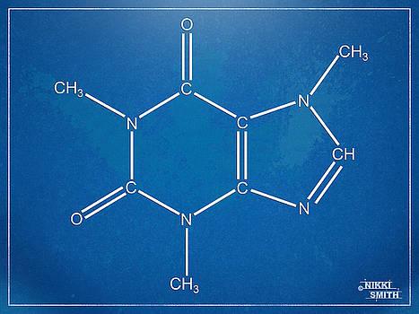 Caffeine Molecular Structure Blueprint by Nikki Marie Smith