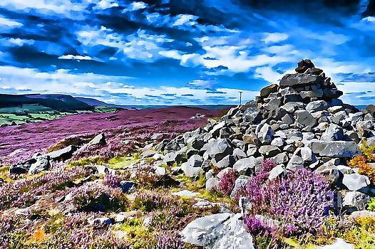 Cairn and Heather by Les Bell