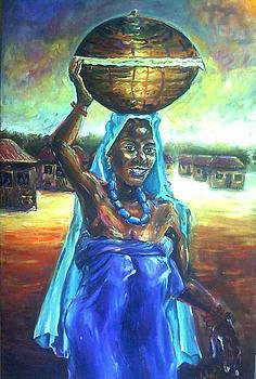 Calabash Lady in Blue by Wale Adeoye