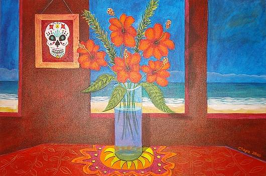 Calavera in paradise by Manny Chapa