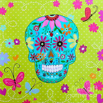 Calavera Sugar Skull I I by Pristine Cartera Turkus