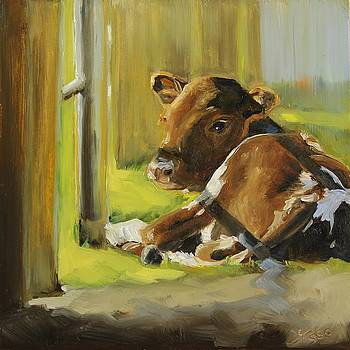 Calf Enjoying The Sunshine by Tess Lehman