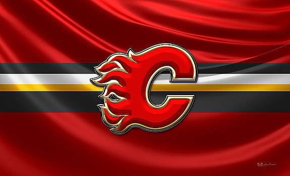 Serge Averbukh - Calgary Flames - 3D Badge over Flag