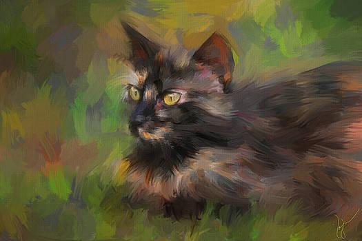 Jai Johnson - Calico In Wait Cat Painting
