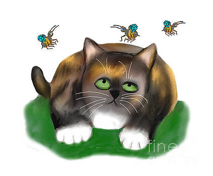 Calico Kitten watches Three Bees by Ellen Miffitt