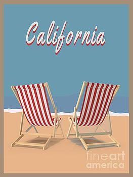 California Beach Vintage Poster by Edward Fielding