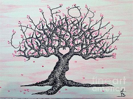 California Cherry Blossom Love Tree by Aaron Bombalicki