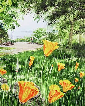 California Poppies Watercolor by Irina Sztukowski