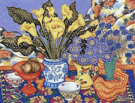 Richard Lee - Calla Lilies, Scabiosa and Cornflowers