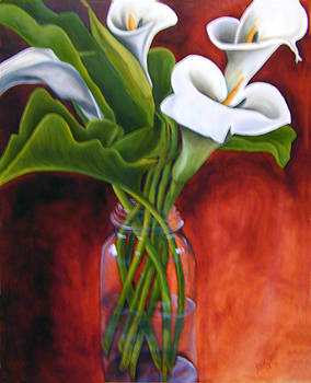 Calla Lilly on Red by Joyce Snyder