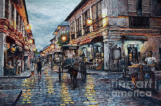 Calle Crisologo at Dusk by Joey Agbayani