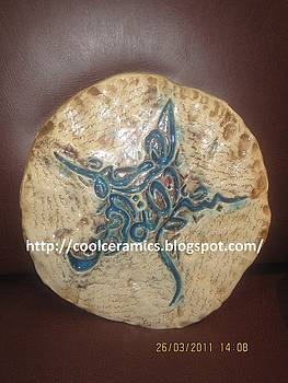 Calligraphy On Ceramic Slab by Umber Khan