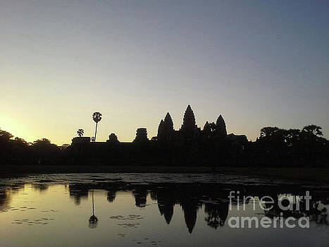 Heather Kirk - Cambodia Angkor Wat Classic Angkor Wat  Silhouette and Reflection at Sunrise