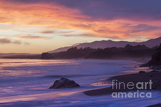 Cambria Coastline with Purple Sunset Colors by Sharon Foelz