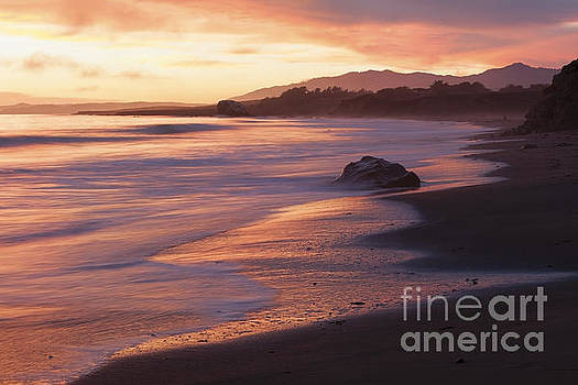 Cambria Coastline with Shimmering Sunset Color by Sharon Foelz