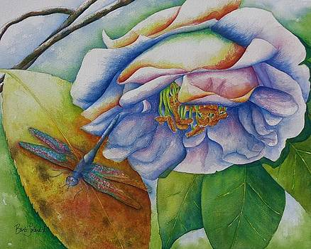 Camellia and Dragonfly by Barb Toland