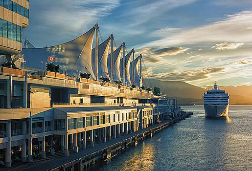 Canada Place and Cruise Ship by Dennis Kowalewski
