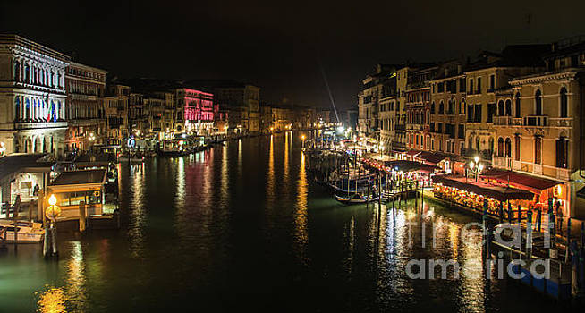 Canal in venice by night, in Italy, view from the Rialto bridge by Amanda Mohler