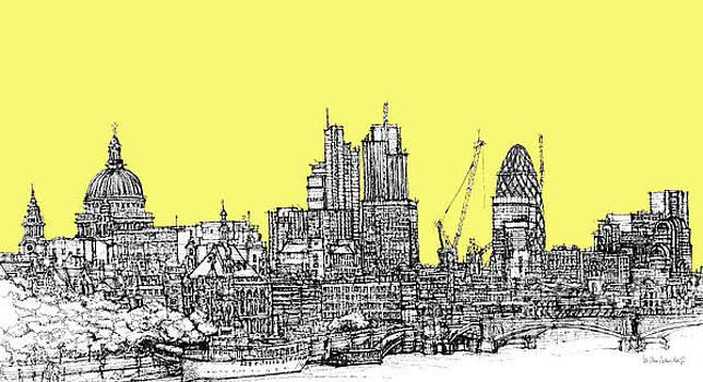 Canary Yellow London Skyline by Adendorff Design