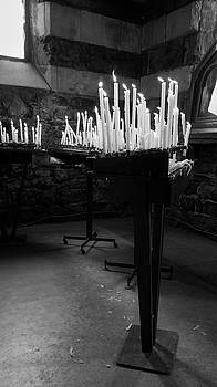 Candles of St Peters Portovenere Italy by Joan Carroll