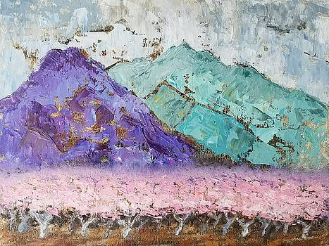 Vera Smith - Canigou with Blooming Peach Trees