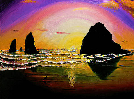 Cannon Beach at Sunset #30 by Portland Art Creations