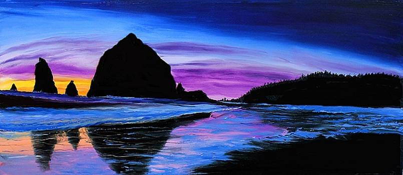 Cannon Beach Haystack Rock Sunset #23 by Portland Art Creations