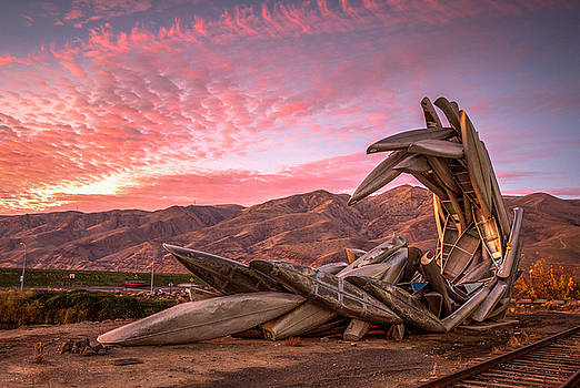 Canoe Art Sculpture with Pink Clouds by Brad Stinson