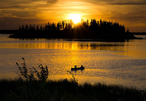 Dave DeBaeremaeker - Canoe at Sunset