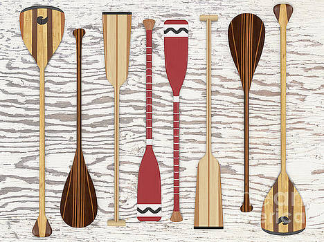 Canoe Paddles and Oars Over Wood by Edward Fielding