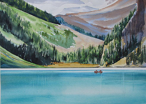 Canoeing-in-Lake-Louise by Nancy Newman